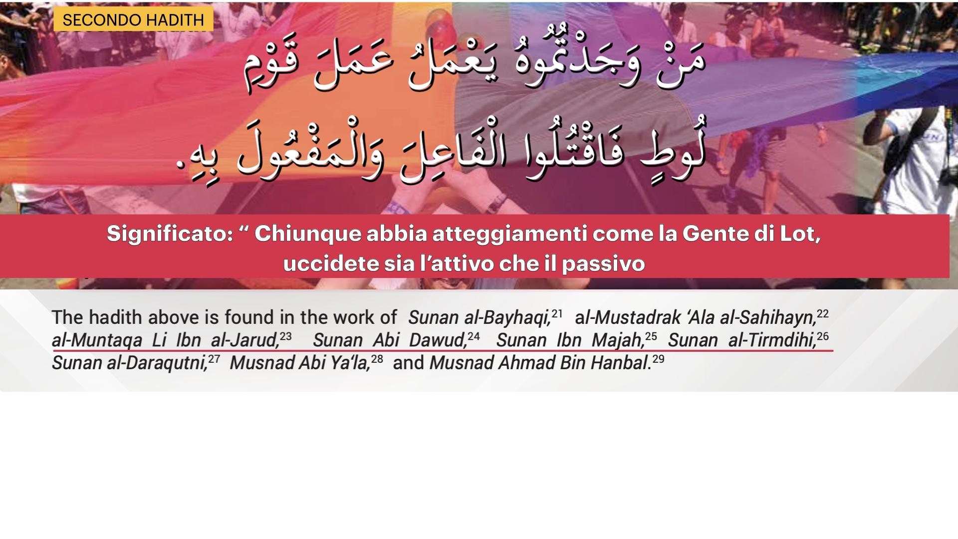 L'hadith di cui sopra si trova nel lavoro di Sunan al-Bayhaqi,21 al-Mustadrak 'Ala al-Sahihayn,22 al-Muntaqa Li Ibn al-Jarud,23 Sunan Abi Dawud,24 Sunan Ibn Majah,25 Sunan al-Tirmdihi,26 Sunan al-Daraqutni,27 Musnad Abi Ya'la,28 e Musnad Ahmad Bin Hanbal.29